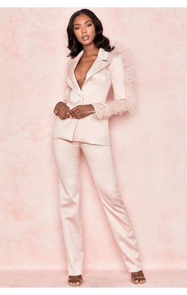 Marissa Blush Satin Tailored Trousers