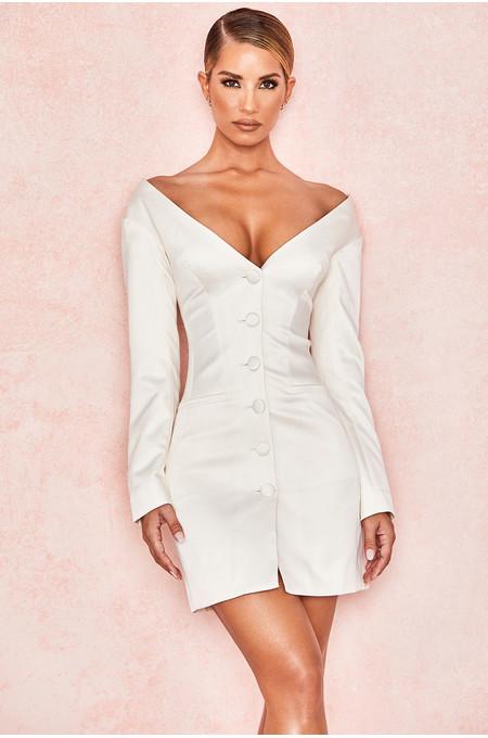 Delana Ivory Satin Tux Dress
