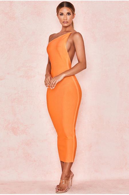 Sasha Orange One Shoulder Bandage Dress