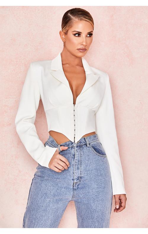 Isobel White Waist Cinching Corset Jacket