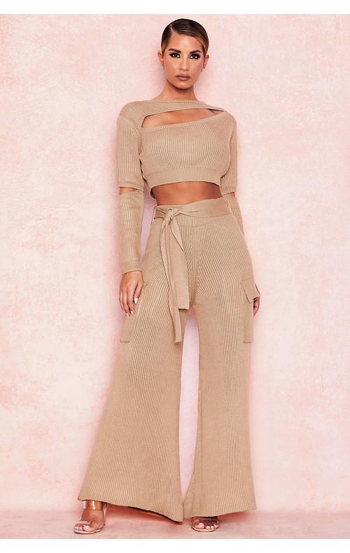 Lila Sand Rib Knit Wide Leg Trousers