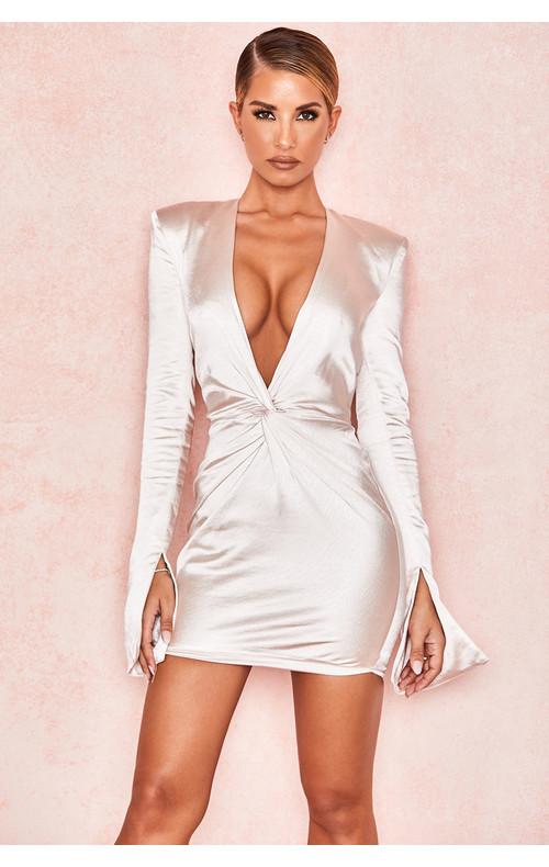 Naia Champagne Satin Plunge Dress