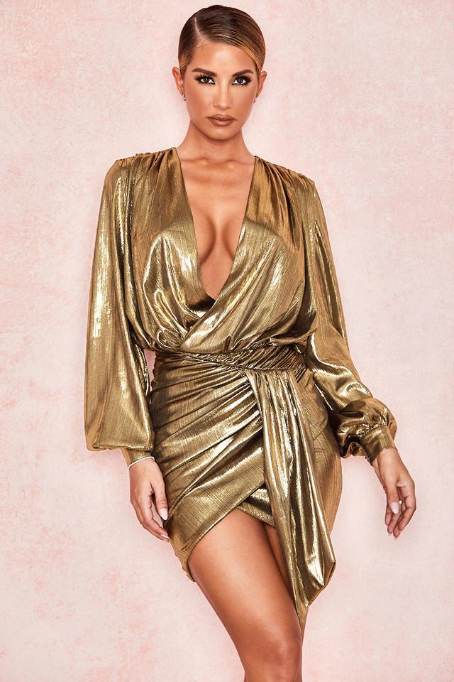 Alvona Metallic Bronze Drape Mini Dress