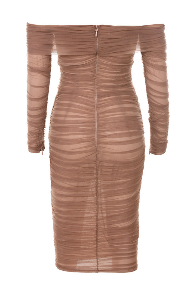 anais dress in brown