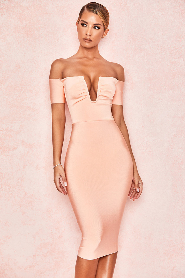 Celia Peach V Wire Bandage Dress