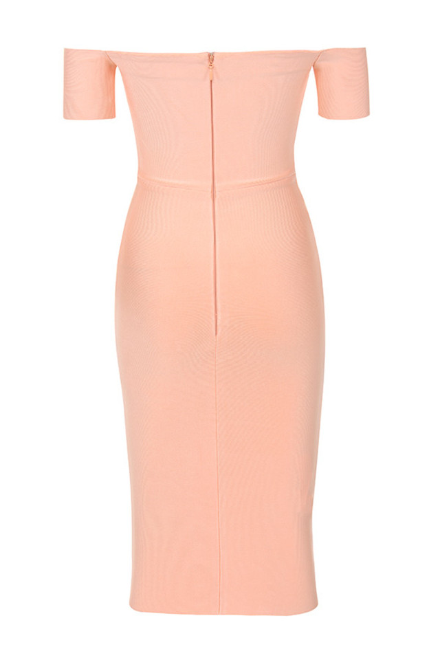 celia dress in peach