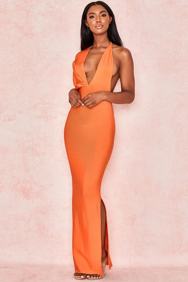 Clemence Orange Bandage Drape Maxi dress