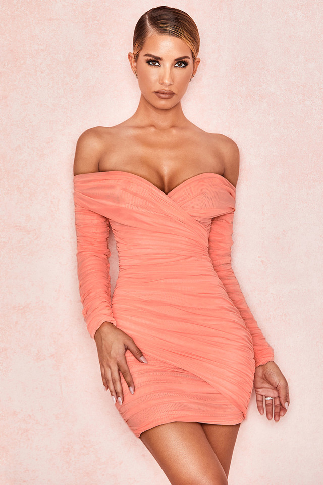 Felicity Peach Wrap Off Shoulder Dress