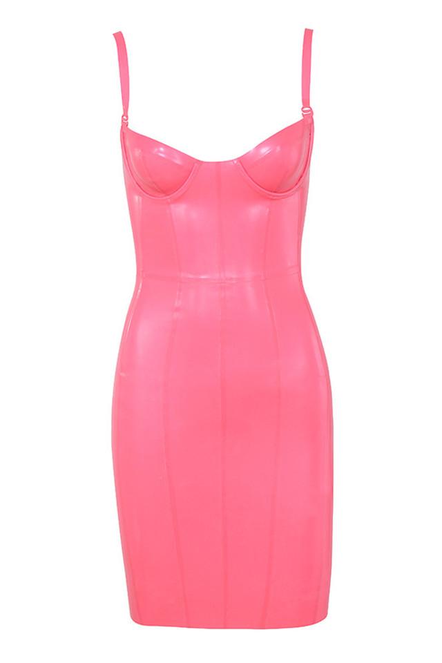 Lexii Pink Bustier Latex Dress
