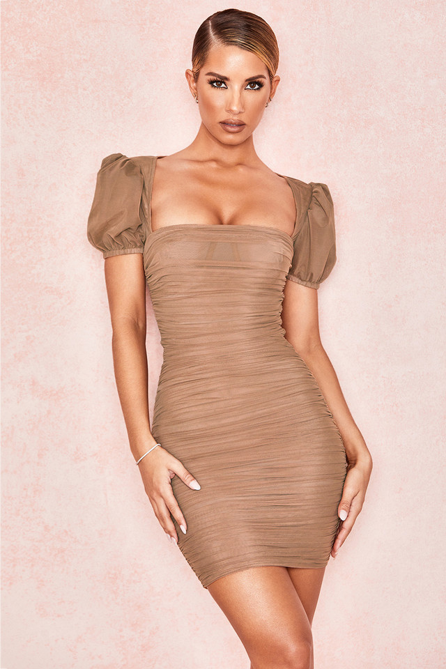 Marcia Tan Puff Sleeve Ruched Dress