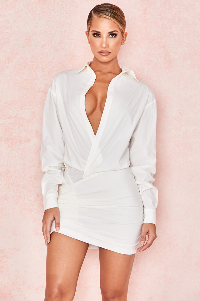 Nicolette White Draped Shirt Dress