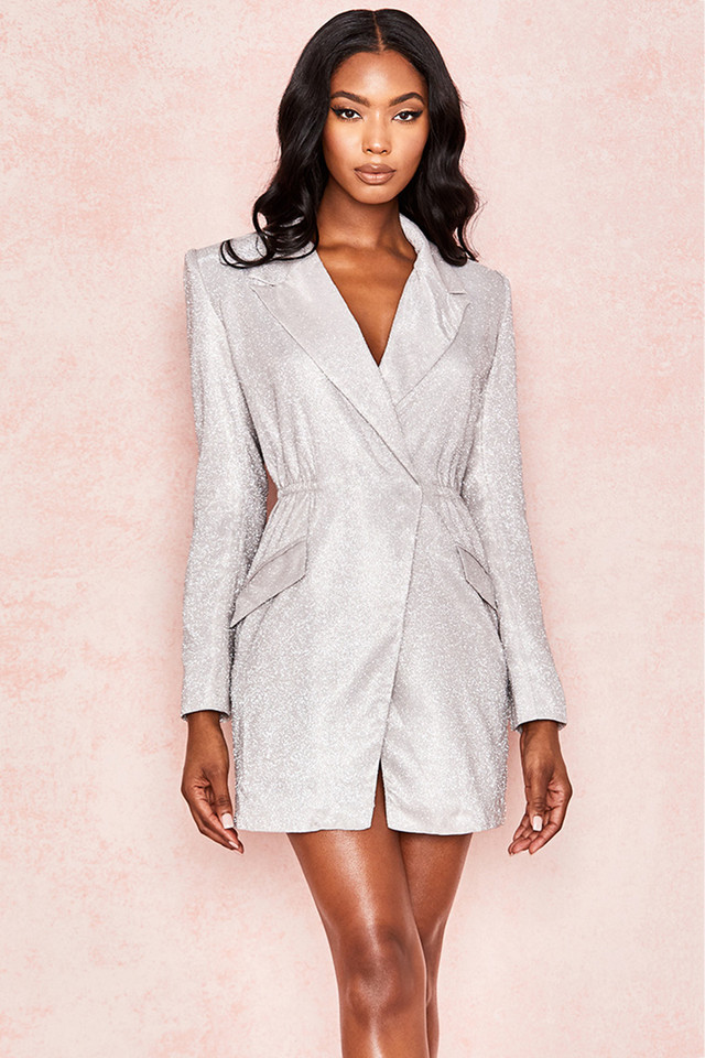 Sarita Silver Glitter Blazer Dress