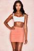 Aubrey Peach Gathered Mesh Mini Skirt