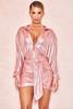 Shahja Pink Metallic Draped Mini Skirt