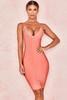 Savannah Peach Low Plunge Bandage Dress