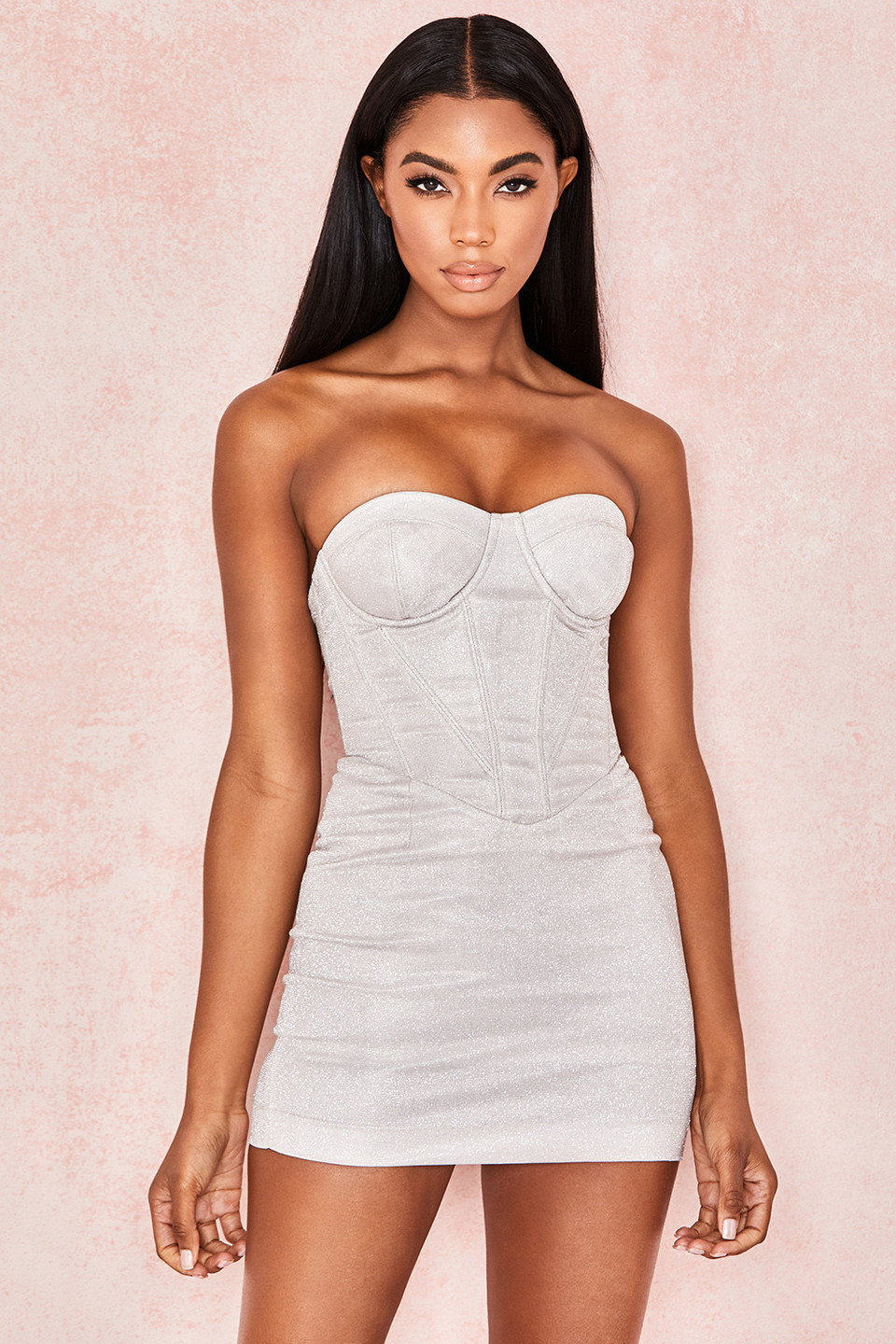 Eevi Silver Sparkle Corset Dress