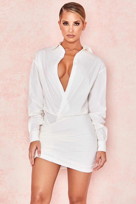 Nicolette White Draped Shirt Dress