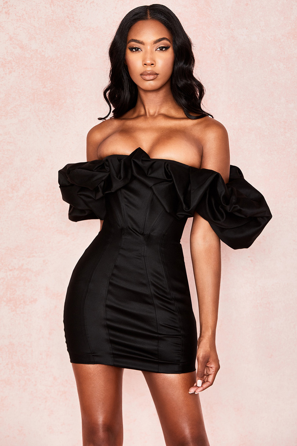 Selena Black Satin Puff Shoulder Dress