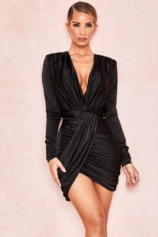 Tatja Black Crystallised Draped Satin Dress