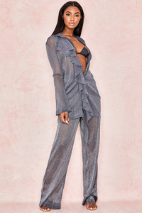 Aneta Grey Sheer Lurex Trousers