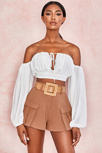 Appiah White Georgette Off Shoulder Bardot Top