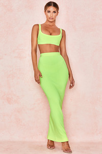 Eve Neon Lime Bandage Rib Maxi Skirt