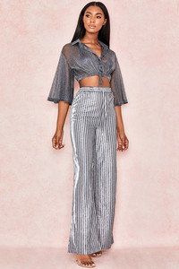 Nediva Charcoal Lurex Wide Leg Trousers