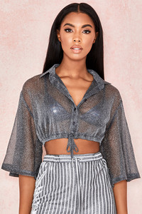 Emmanuella Grey Cropped Shirt