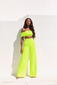 Marsha Neon Green Wide Leg Trousers