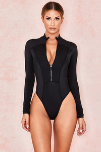 Ravine Black Long Sleeved Rash Guard One Piece Swimsuit