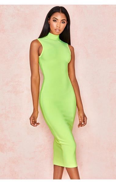 Flavia Neon Yellow Bandage Midi Dress