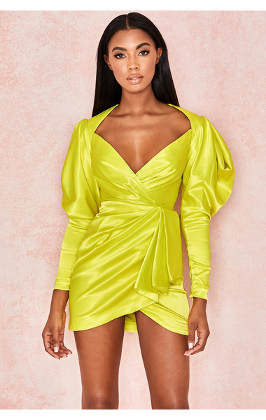 Marionella Lime Satin Draped Sleeve Dress