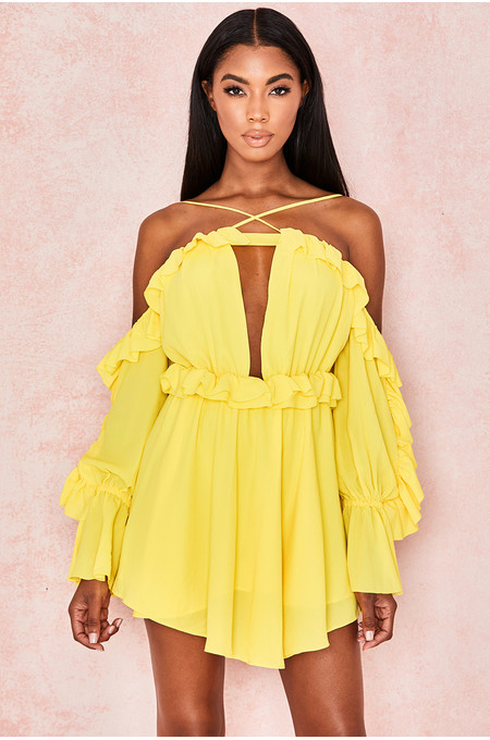 Serenity Yellow Off Shoulder Ruffled Mini Dress