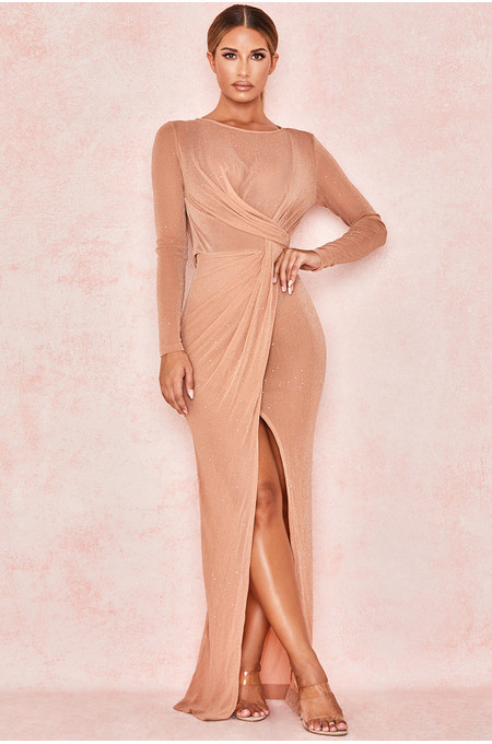 Alala Tan Sheer Sparkle Maxi Dress
