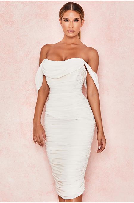 Carlotta Ivory Ruched Draped Chiffon Dress