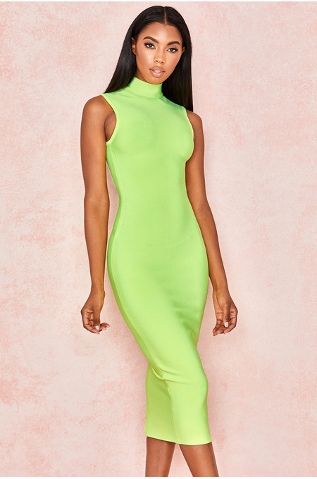 Flavia Neon Yellow Bandage Midi Dress