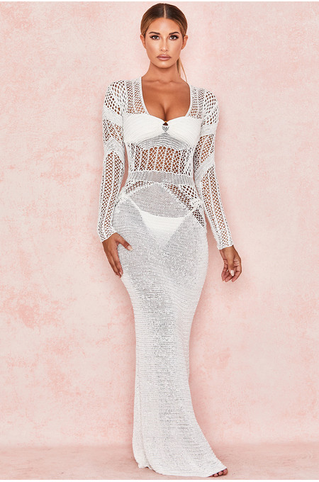Graciela White Backless Crochet Maxi Dress