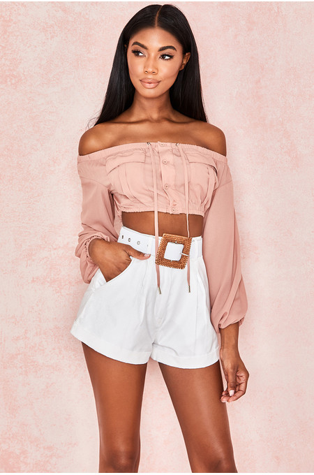 Iris Blush Cropped Off Shoulder Top