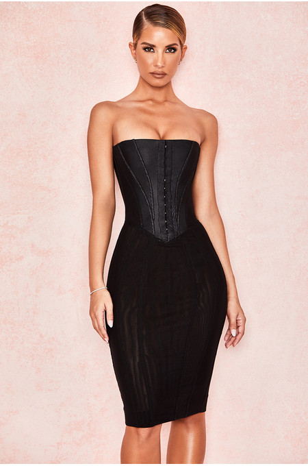 Jaleesa Black Mesh Strapless Corset Dress
