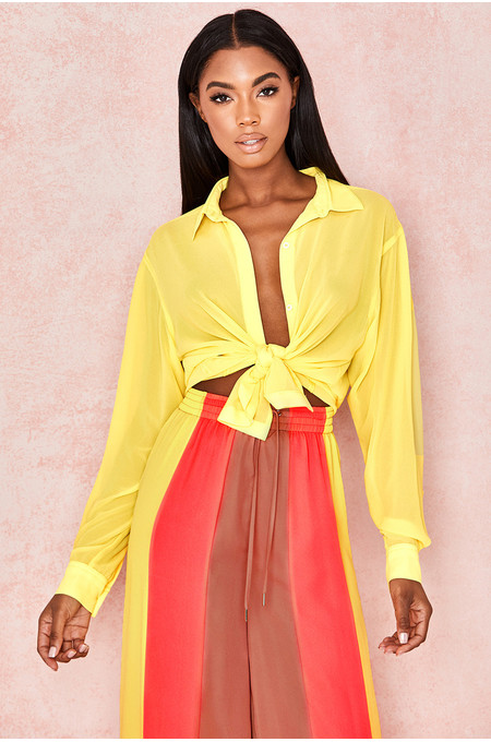 Mahlah Yellow Georgette Shirt