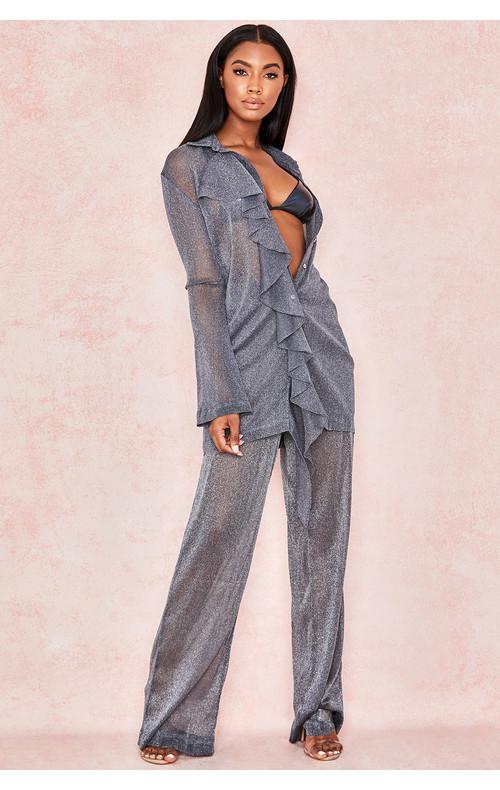 Aneta Grey Sheer Lurex Trousers