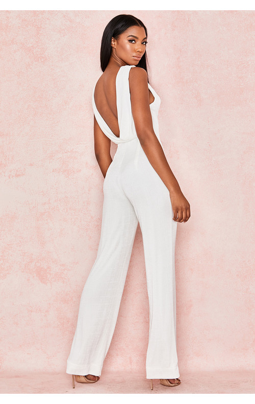 Davida White Slinky Jersey Backless Jumpsuit