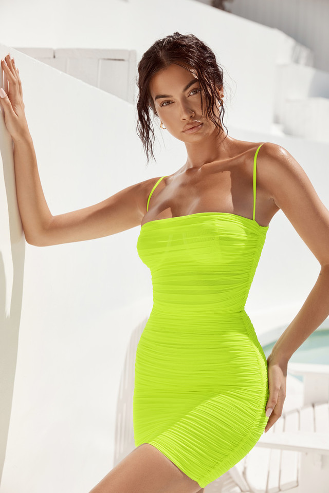 Ella Neon Green Ruched Organza Mesh Mini Dress