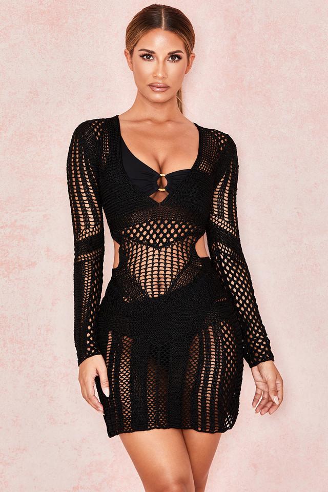 Lorena Black Silky Crochet Dress