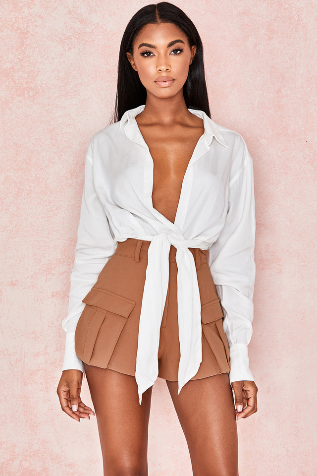 Amelia White Drape Shirt Bodysuit