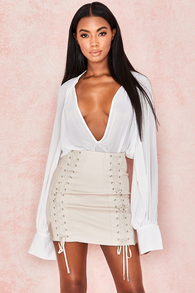 Chania Taupe Twill Lace Up Mini Skirt