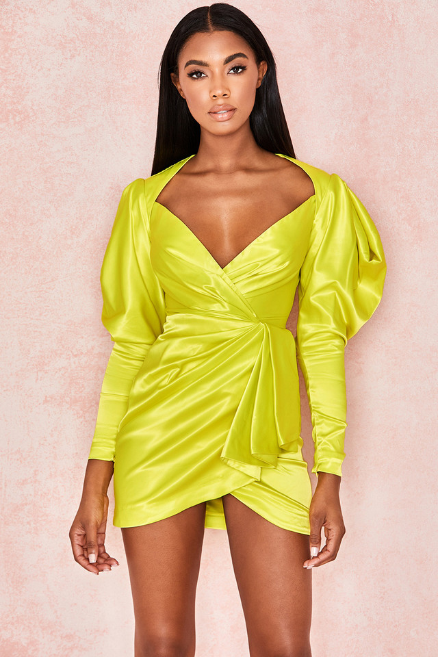Marionella Lime Satin Draped Sleeve Dress