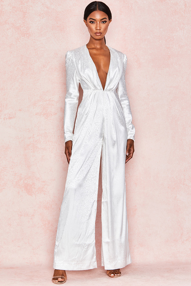 Rene White Satin Draped Jumpsuit