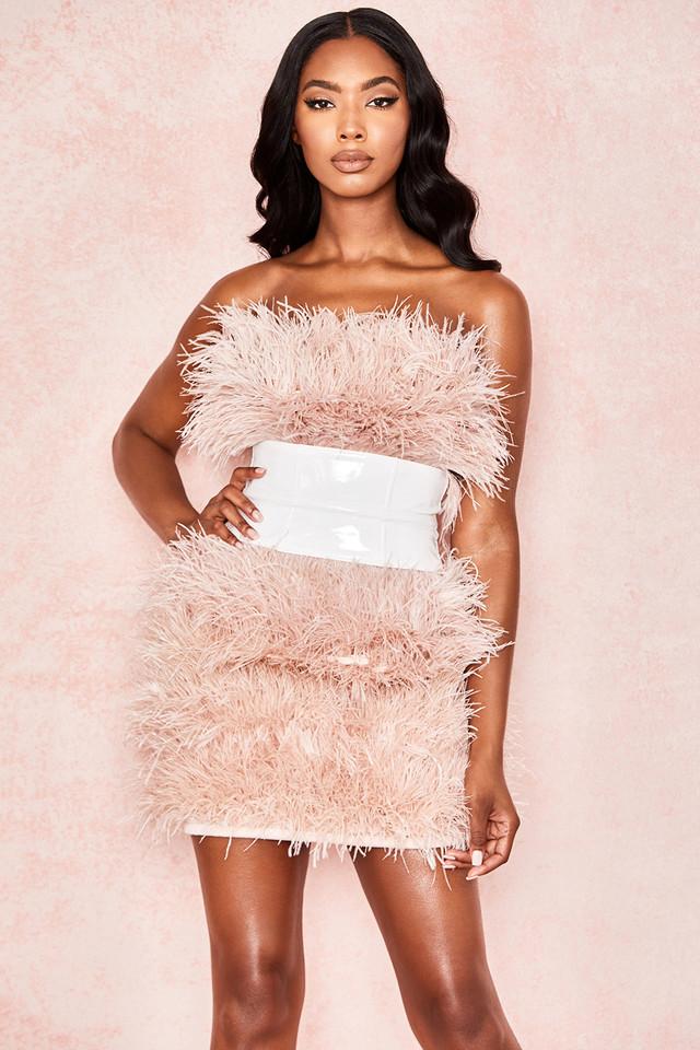 Shira Blush Boned Strapless Feather Dress