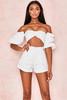 Soraya White High Waist Textured Shorts